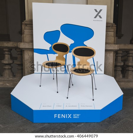 MILAN, ITALY - APRIL 15: Chairs on display at Fuorisalone, set of events distributed in different areas of the town during Milan Design Week on APRIL 15, 2016 in Milan. - stock photo