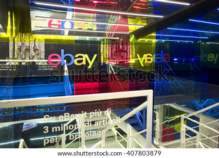 MILAN, ITALY-APRIL 14, 2016: Ebay lab space at the Fuori Salone of the International Design Week, Salone del Mobile, in Milan.