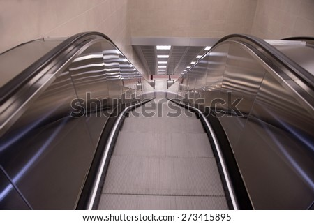 MILAN, ITALY-APRIL 27, 2015: escalator of the new lilac metro station number 5, in Milan.