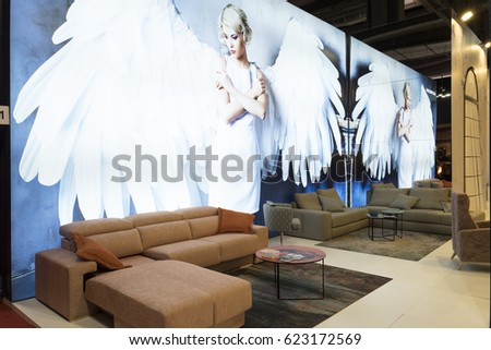 MILAN, ITALY-APRIL 07, 2017: interior furniture are displayed at the international design fair, Salone del Mobile, at Rho fiera, in Milan.