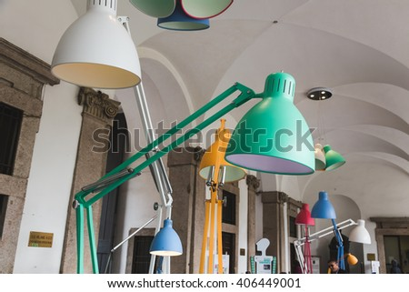 MILAN, ITALY - APRIL 15: Lamps on display at Fuorisalone, set of events distributed in different areas of the town during Milan Design Week on APRIL 15, 2016 in Milan. - stock photo