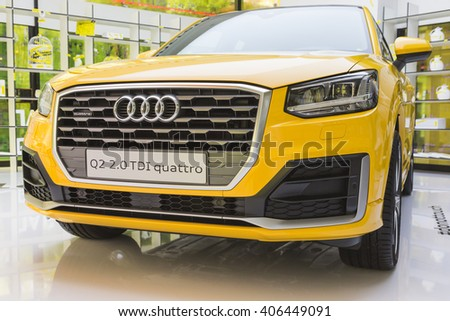 MILAN, ITALY - APRIL 15: New Audi Q2 car on display at Fuorisalone, set of events distributed in different areas of the town during Milan Design Week on APRIL 15, 2016 in Milan. - stock photo