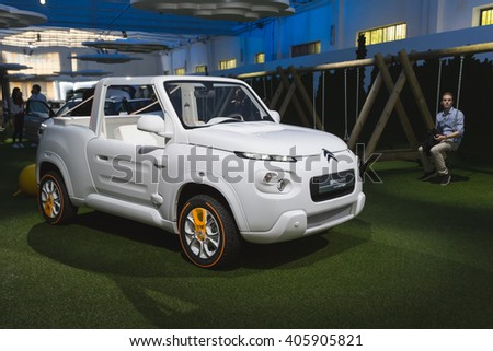 MILAN, ITALY - APRIL 13: New Citroen Mehari on dispaly at Fuorisalone, set of events distributed in different areas of the town during Milan Design Week on APRIL 13, 2016 in Milan.