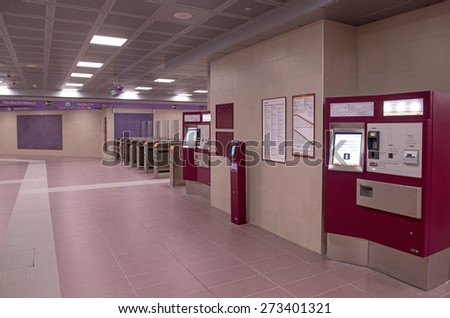MILAN, ITALY-APRIL 27, 2015: new ticket access of the lilac metro station number 5, in Milan.