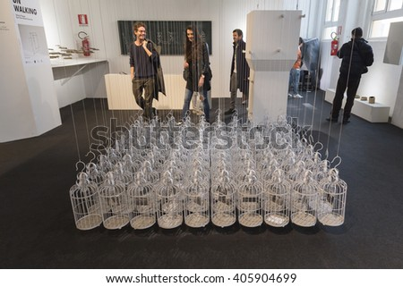 MILAN, ITALY - APRIL 13: People visit Fuorisalone, set of events distributed in different areas of the town during Milan Design Week on APRIL 13, 2016 in Milan. - stock photo