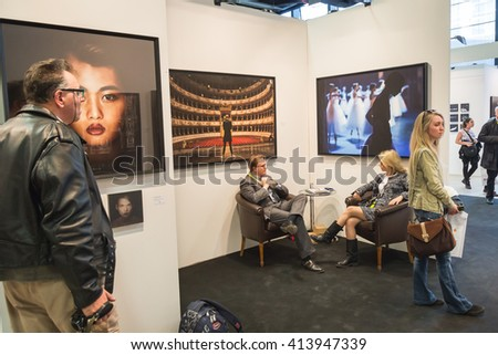 MILAN, ITALY - APRIL 29: People visit MIA, international photography and moving image art fair on APRIL 29, 2016 in Milan