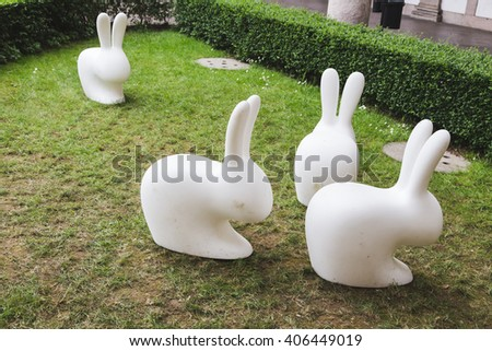 MILAN, ITALY - APRIL 15: Rabbits on display at Fuorisalone, set of events distributed in different areas of the town during Milan Design Week on APRIL 15, 2016 in Milan. - stock photo