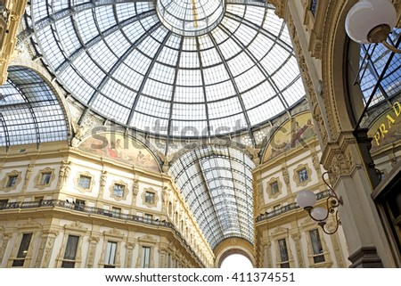 MILAN, ITALY-APRIL 22, 2016: renaissance Vittorio Emanuele gallery, with glass dome , in Milan. - stock photo