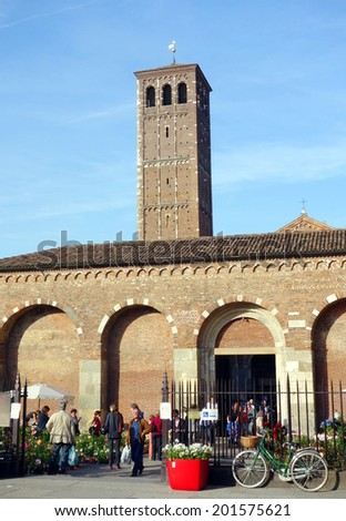 MILAN, ITALY - APRIL 26, 2014: The exterior of the Basilica di Sant'Ambrogio in Milan, Italy.