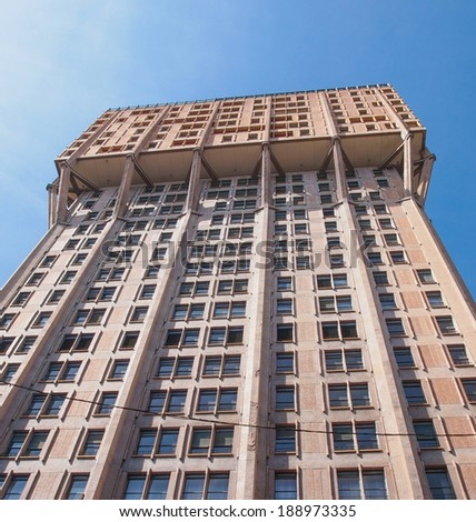 MILAN, ITALY - APRIL 10, 2014: The Torre Velasca designed in 1955 by BBPR is a masterpiece of Italian new brutalist architecture