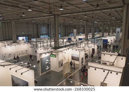 MILAN, ITALY - APRIL 10: Top view of people and booths at Miart, international exhibition of modern and contemporary art on APRIL 10, 2015 in Milan. - stock photo