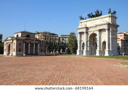 Milan, Italy. Arco della Pace (Arch of Peace) in Sempione Park. - stock photo