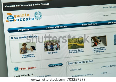Milan, Italy - August 10, 2017: Agenzia delle entrate website homepage. Agenzia delle entrate logo visible.