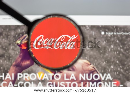 Milan, Italy - August 10, 2017: Coca cola website homepage. It is is a carbonated soft drink produced by The Coca-Cola Company. Cola logo visible.