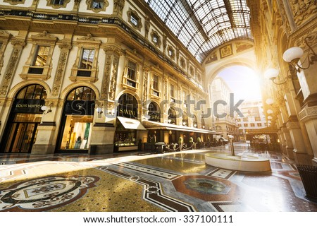 MILAN, ITALY - AUGUST 29, 2015: Luxury Store in Galleria Vittorio Emanuele II shopping mall in Milan, with tasted Italian restaurants. - stock photo