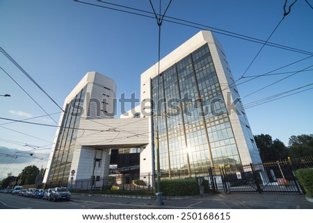 MILAN, ITALY - AUGUST 23, 2014: modern buildings against blue sky