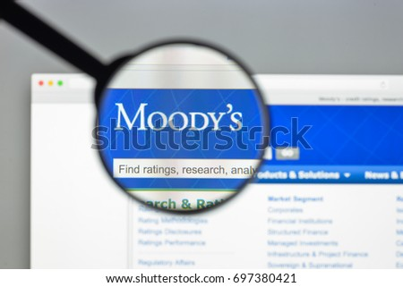 Milan, Italy - August 10, 2017: Moodys website homepage. is an American business and financial services company. Moodys logo visible.