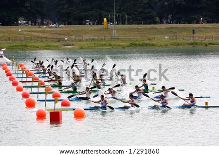 MILAN, ITALY - AUGUST 31, 2008: The Canoe and Kayak Italian Championships 2008 took place in Milan on the 30th and 31st August 2008 - - stock photo