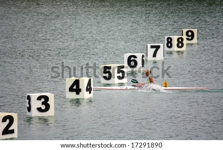 MILAN, ITALY - AUGUST 31, 2008: The Canoe and Kayak Italian Championships 2008 took place in Milan on the 30th and 31st August 2008 Josefa Idem, 43-year-old  canoeist, won silver at Beijing. - stock photo