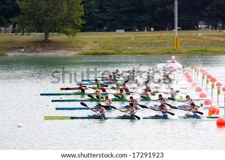 MILAN, ITALY - AUGUST 31, 2008: The Canoe and Kayak Italian Championships 2008 took place in Milan on the 30th and 31st August 2008 - stock photo