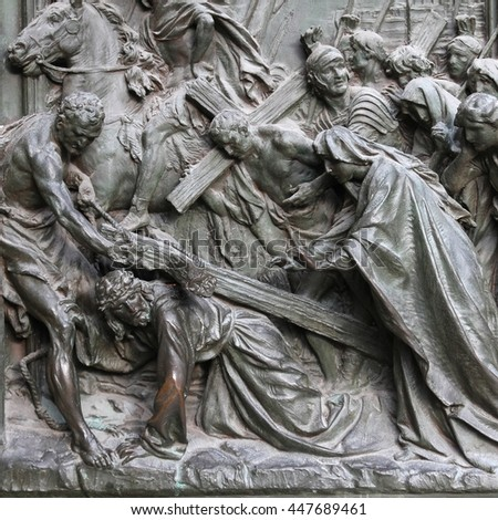 Milan, Italy. Cathedral door. Jesus Christ, way of the Cross - biblical story.