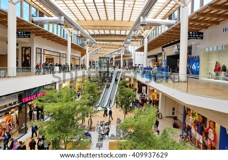 Milan, Italy - Circa April 2016:  Arese shopping center, the biggest shopping center in Italy - stock photo