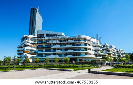 MILAN, ITALY - CIRCA APRIL 2016: CityLife Milano residential complex designed by Zaha Hadid architects (HDR)