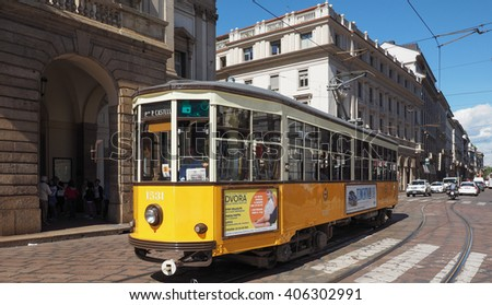 MILAN, ITALY - CIRCA APRIL 2016: Vintage historical tramway train