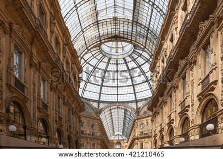 Milan, Italy - Circa August 2013: Glass roof of Galleria Vittorio Emanuele II.