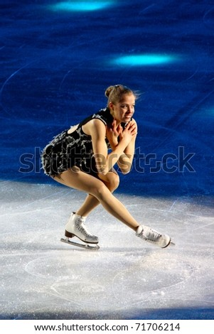 MILAN, ITALY - DEC 18: Carolina Kostner during the Ice Christmas Gala in the Forum Arena, on 18 December, 2010, in Milan. - stock photo