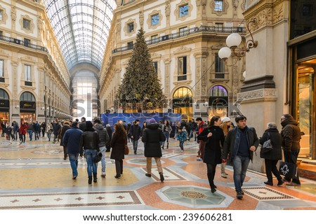 MILAN, ITALY - DEC 23, 2014: Galleria Vittorio Emanuele II, one of the world's oldest shopping malls. The gallery is built between 1865 and 1877 by Giuseppe Mengoni
