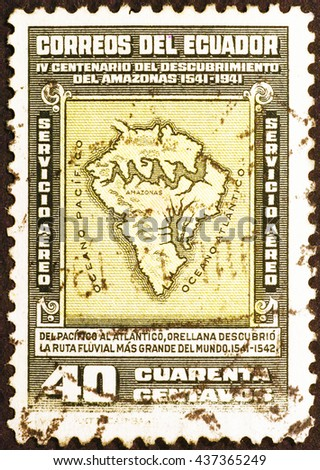 Milan, Italy - December 16, 2014: Ancient map of South America on old postage stamp of Ecuador