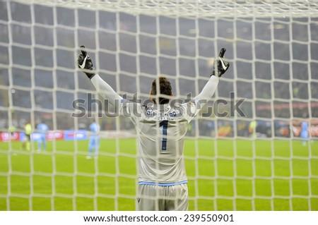 MILAN, ITALY-DECEMBER 14,2014: brazilian Napoli's goalkeeper Rafael Cabral Barbosa  praying at the start of the serie A soccer match AC Milan vs Napoli at the san siro stadium , in Milan. - stock photo