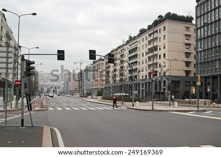 MILAN, ITALY - DECEMBER 24 2014: Central railway station and Vittor Pisani Street on DECEMBER 24, 2014 in Milan. - stock photo