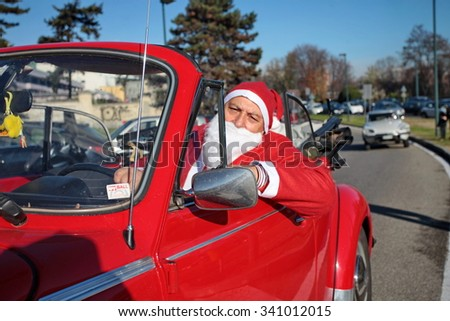 Milan, Italy - December 2, 2014: Meet Santa Claus for charity initiative