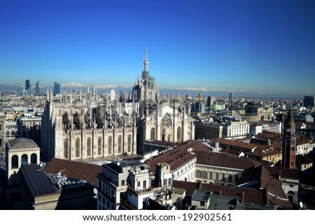 MILAN,ITALY-DECEMBER 5: panoramic view Cathedral of Milan December 5, 2013 in Milan Italy  - stock photo
