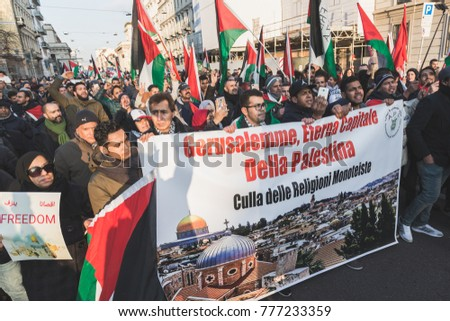 MILAN, ITALY - DECEMBER 16: People march and protest against Jerusalem capital of Israel in solidarity with Palestinians on DECEMBER 16, 2017 in Milan.