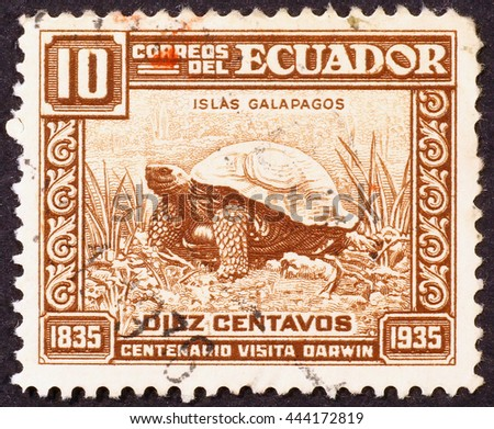 Milan, Italy - December 21, 2013: Postage stamp showing a giant turtle of Galapagos islands