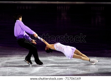 MILAN, ITALY - DECEMBER 18: Qing Pang and Jian Tong during the Ice Christmas Gala in the Forum Arena, on 18 December, 2010, in Milan. - stock photo