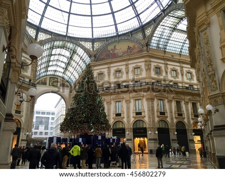 MILAN, ITALY - DECEMBER 19, 2015: The christmas tree at Galleria Vittorio Emanuele II is one of the world's oldest shopping malls. Housed within a four-story double arcade in central Milan.
