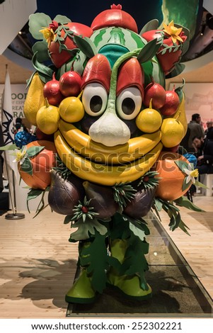 MILAN, ITALY - FEB, 12: the Expo 2015 mascotte, Foody, at the Expo Milano 2015 World Fair stand during BIT at Rho-Fiera in Milan on February 12, 2015 - stock photo
