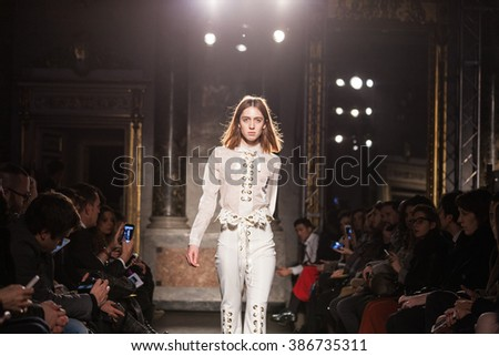 Milan, Italy - February 24, 2016 - A model walks the runway at the Francesco Scognamiglio show during Milan Fashion Week Fall/Winter 2016/17