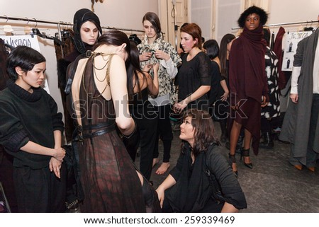 MILAN, ITALY - FEBRUARY 27: Backstage during the Nicholas K show during the Milan Fashion Week Autumn/Winter 2015/2016 on February 27, 2015 in Milan, Italy. - stock photo