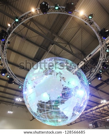 MILAN, ITALY - FEBRUARY 15: Close up of light globe, Italy tourism area at BIT, International Tourism Exchange Exhibition on February 15, 2013 in Milan, Italy.