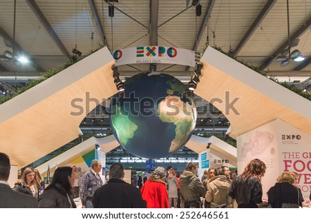 MILAN, ITALY - FEBRUARY 13: Expo stand at Bit, international tourism exchange reference point for the travel industry on FEBRUARY 13, 2015 in Milan. - stock photo