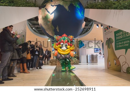 MILAN, ITALY - FEBRUARY 13: Mascot Foody poses at Bit, international tourism exchange reference point for the travel industry on FEBRUARY 13, 2015 in Milan. - stock photo