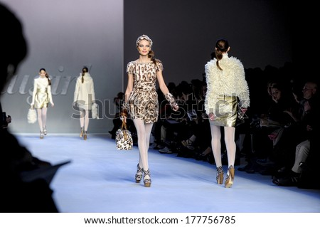 MILAN, ITALY-FEBRUARY 25, 2010: Models runway catwalk during the fall-winter fashion collection of Blugirl.
