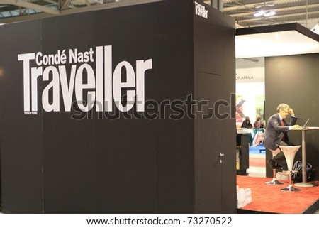 MILAN, ITALY - FEBRUARY 20: People at Conde Nast tourism pavilion during BIT, International Tourism Exchange Exhibition on February 20, 2010 in Milan, Italy. - stock photo