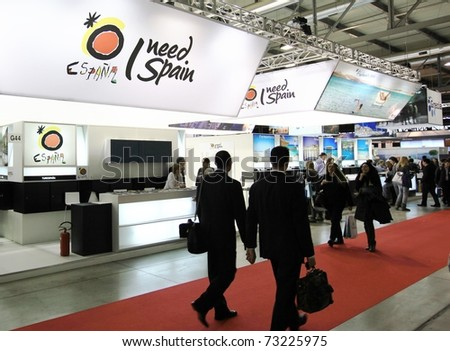 MILAN, ITALY - FEBRUARY 17: People visit Spain national tourism stand, World pavilion at BIT, International Tourism Exchange Exhibition on February 17, 2011 in Milan, Italy.