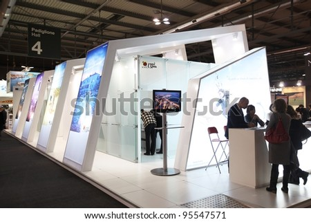 MILAN, ITALY - FEBRUARY 16: People visit Spain tourism exhibition area during BIT, International Tourism Exchange Exhibition February 16, 2012 in Milan, Italy. - stock photo